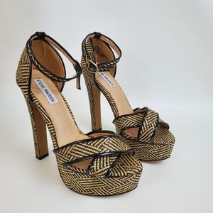 Steve Madden P-Rada Raffia Platform Heel Sandal